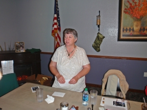 Connie Cockrell, speaking, Soroptimist meeting.