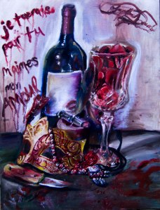 Oil Painting, still life, wine bottle, glass, knife