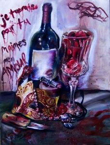 Oil Painting, still life, wine bottle, glass, knife