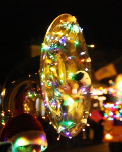 Tuba, Lights, Christmas, Parade