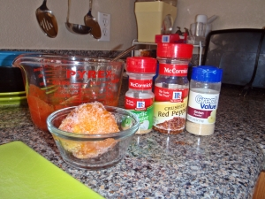 Ingredients, seasonings, frozen peach